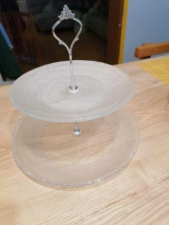 Patera szklana dwupoziomowa