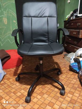 Cadeira de Executivo, Pele Sintética, Preto