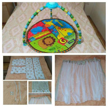 Развивающий игровой коврик, защита в кроватку, балдахин на кроватку