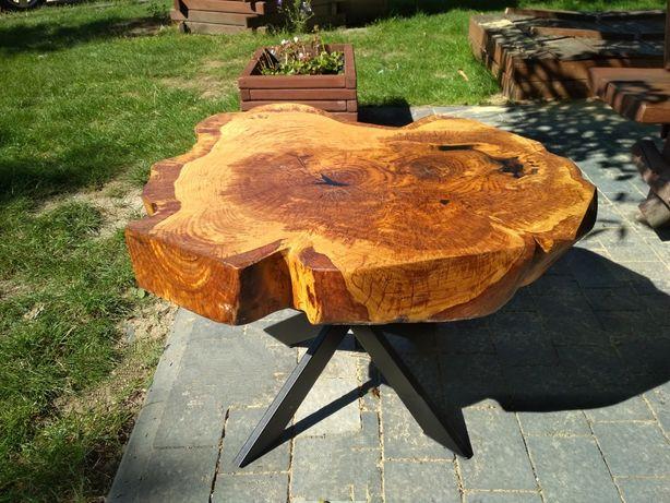 Blat stolika kawowego z pnia dębowego, żywica, cena za blat bez nogi