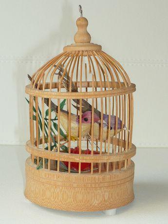 Ptaszki śpiewające w klatce na baterie