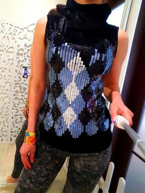 Туника миги-платье или футболка нарядная блестящая черная с пайетками