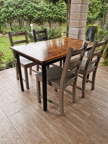 Stół z 4 krzesłami, styl industrialny