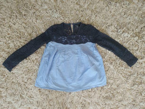 Elegancka bluzka z koronką 146 na 10 -11 l długi rękaw dla dziewczynki