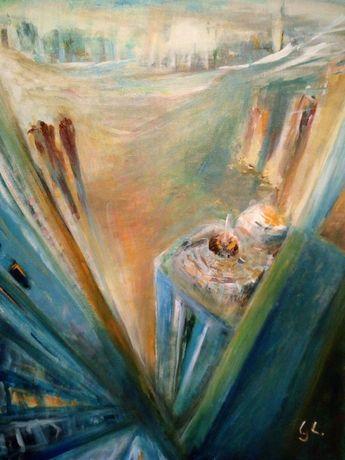 Obraz ręcznie malowany Wieżowce G. Lazarek 50 x 70