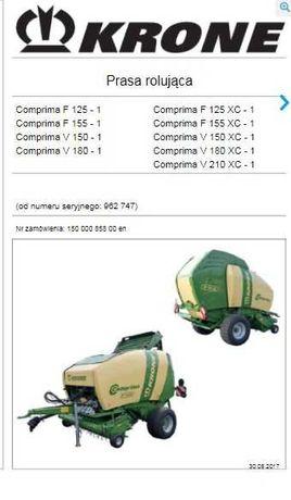 Instrukcja obsługi prasy Krone Comprima F125 F155 V150 V180 V210 PL