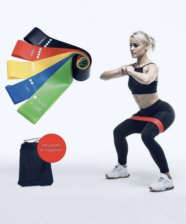 фитнес резинка / набор 5 резинок + мешочек