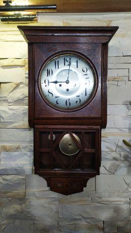 Stary zegar ścienny kwadransowy z kurantem sygnowany Junghans