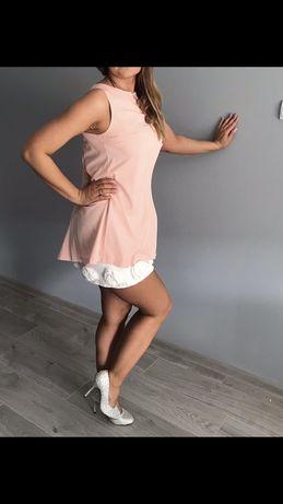 Sukienka ślub różowa biała mini młoda świadkowa fashion