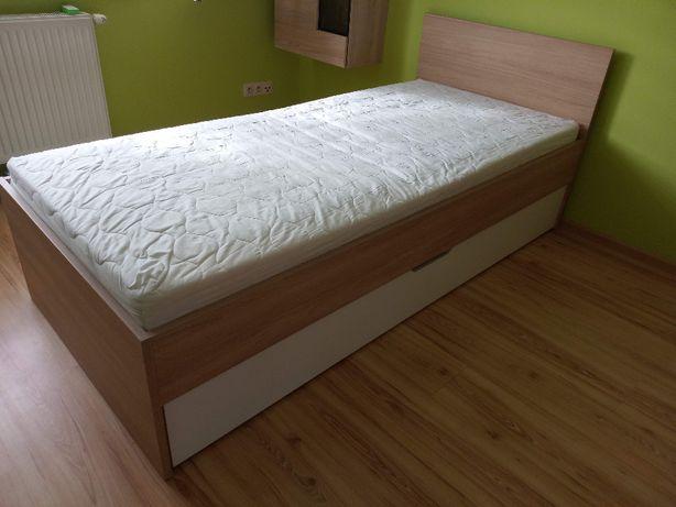 Łóżko 90x200, komplet materac + stelaż + schowek na pościel