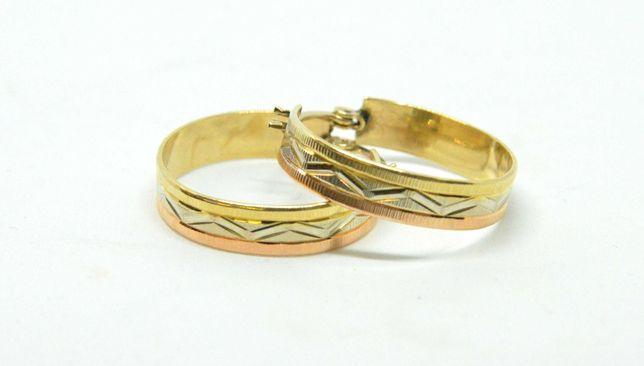 Kolczyki złote 585 waga 4,68g średnica 23mm Lombard Tarnów