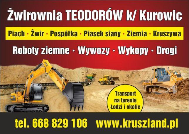 Piasek Żwir Pospółka Transport Łódź i okolice piasek siany płukany