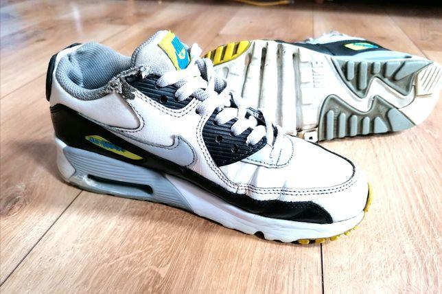 Buty adidasy Nike Air Max 90 neon damskie czarne białe skórzane