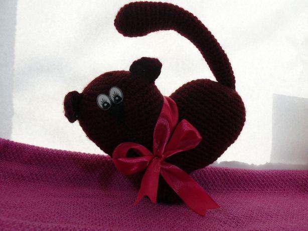 Мягкая игрушка сердце-кот