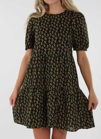 Ярусное хлопковое платье в цветочки рукав фонарик
