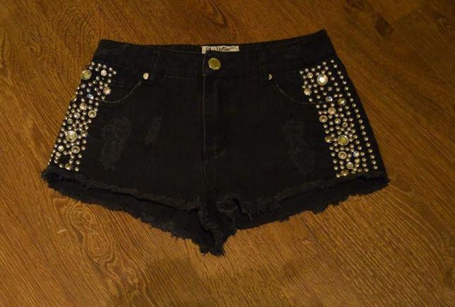 Krótkie spodenki z dżetami spodenki z wysokim stanem jeans