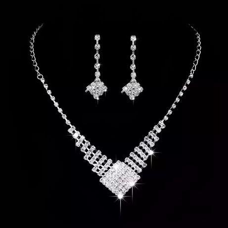 Zestaw biżuterii ślubnej kolia naszyjnik wesele ślub komunia