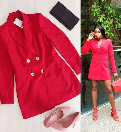 Zara s 36 czerwona sukienka marynarka żakietowa