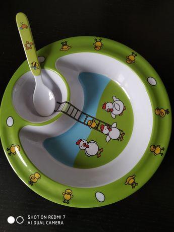 Тарелка детская порционная с ложечкой
