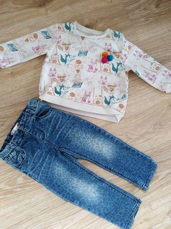 Zestaw bluzka, spodnie jeans dla dziewczynki 86, 92