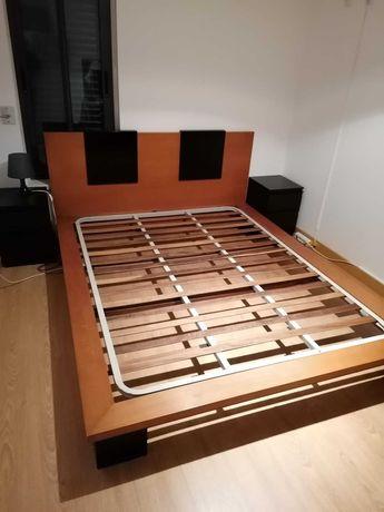 Conjunto quarto em cerejeira (cama casal king size + estrado + cômoda)