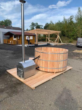 Modrzewiowa ruska bania z piecem jacuzzi balia sauna DOSTĘPNA OD RĘKI