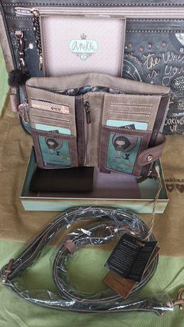 Mala+Carteira ANEKKE, nova em saco e caixa