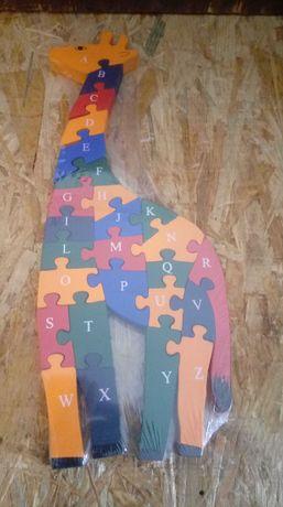 Puzzle drewniane cyferki i literki Żyrafa -NOWE