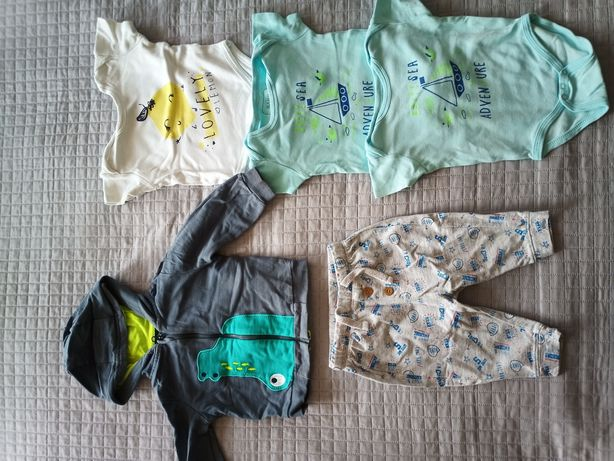 Ubranka dziecięce zestaw 74 bluza, spodnie i body