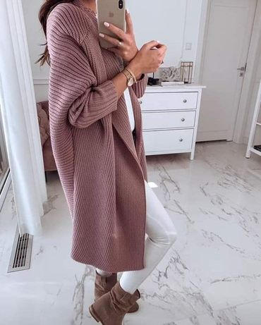 Sweter płaszcz me gusta maxi kardigan oversize s m l xl xxl 10 kolorów