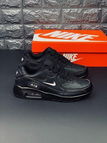 Ядовито Черные Найк Эир Макс 90 кожаные кроссовки Nike Air Max 90 Кожа
