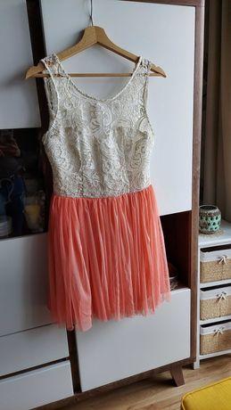 Sukienka Lipsy biało-morelowa