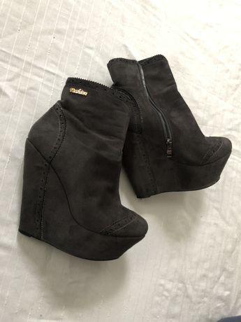 Ботинки серые нубук платформа деми стпипы