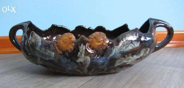 Patera, misa z ceramiki, malowana ręcznie, PRL