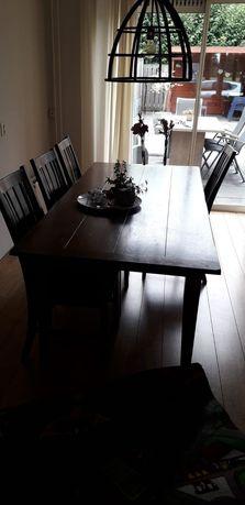 Stół z 6 krzesłami masywny z litego drewna