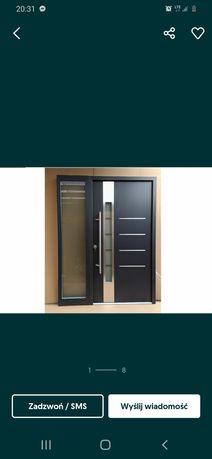 Drzwi zewnętrzne antracyt aluminiowe 160x210 pochwy , z dostawka