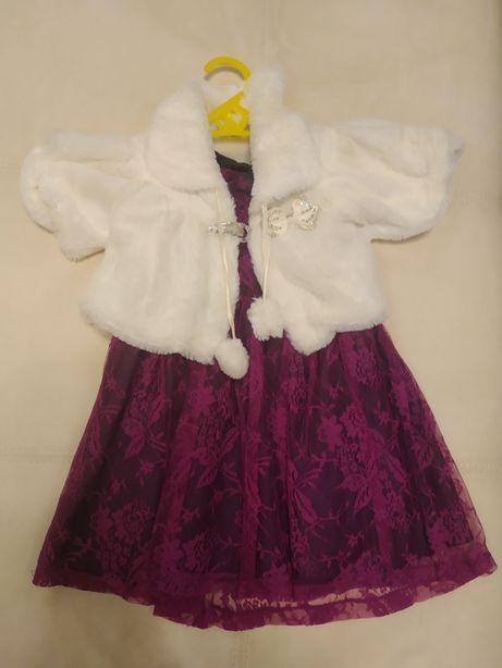 Шубка и нарядное платье на девочку 2-3 годика