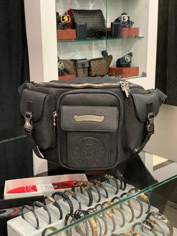 Мужская кожаная поясная сумка на плечо бананка Chrome Hearts c634
