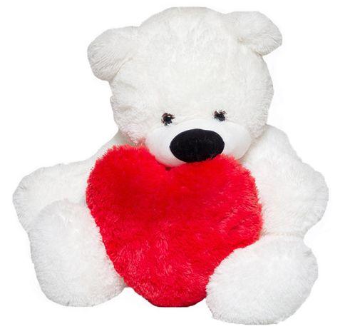 Плюшевый белый медвежонок 77 см с сердцем 40 см. Доставка новой почтой