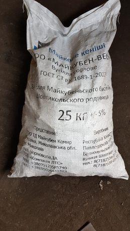 Уголь каменный казахстанский для отопления, фракция 25-50, мешок 25 к
