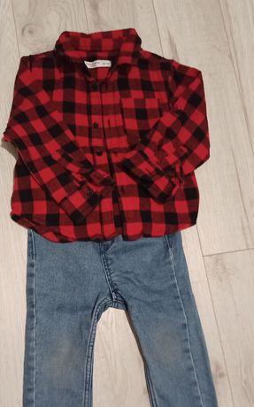 Spodnie hm74+ koszula rozm 74/80