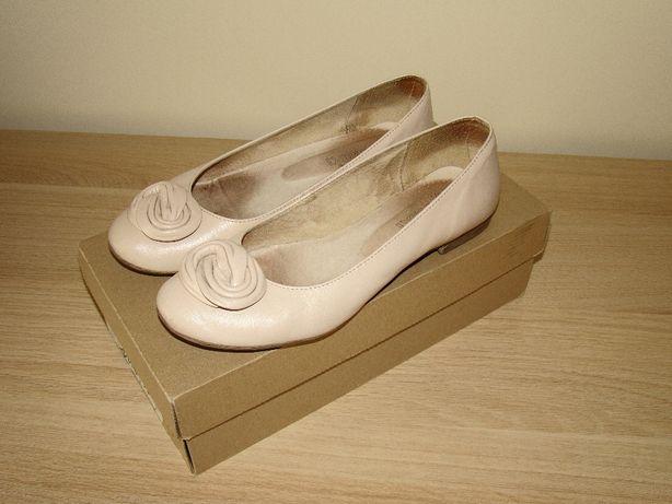 Skórzane buty damskie Burzyński rozmiar 37 nude