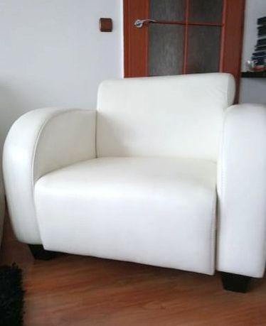 Fotel SKÓRA naturalna biały śmietankowy jak NOWY