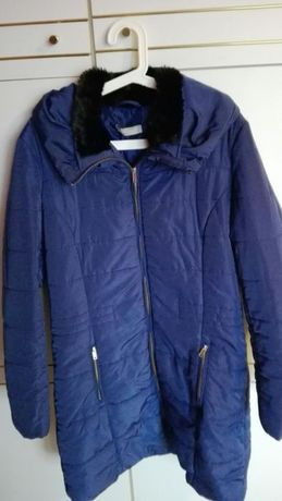 Płaszcz zimowy granatowy pikowany XL płaszczyk elegancki