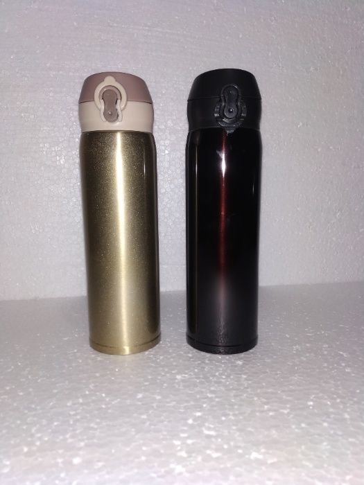 Поилка с носиком термос 500 мл Metalic черный нержавейка силикон Киев - изображение 1