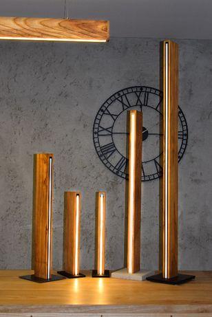 Lampa led stojąca drewniana nowoczesna loft ściemniacz