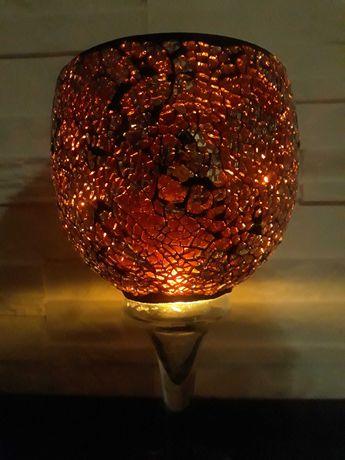 Świecznik szkło artystyczne ozdobne tłuczone witrażowe