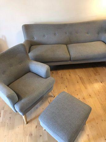 Szara sofa wypoczynek komplet z fotelem