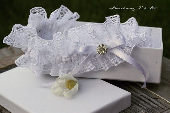 Podwiązka ślubna biała handmade