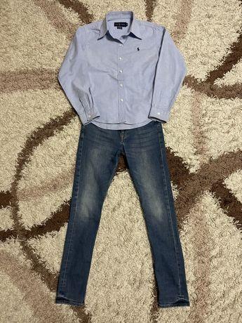 Джинсы + рубашка бренда Ralph Lauren. Рост 152